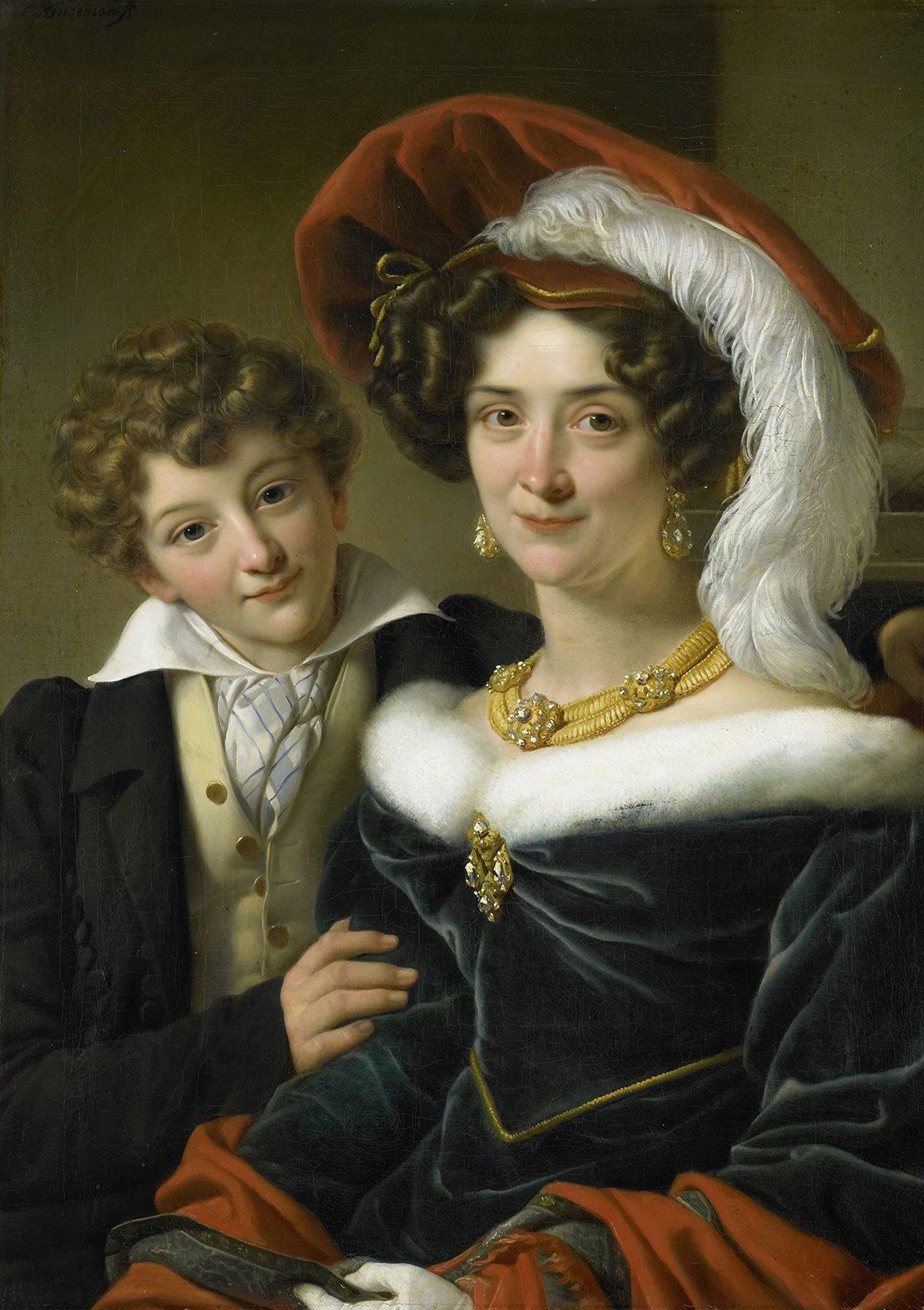 vrouw met bontkraag portret huisdier origineel 1